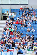 Small Contingency  of Sevilla fans during the Pre-Season Friendly match between Brighton and Hove Albion and Sevilla at the American Express Community Stadium, Brighton and Hove, England on 2 August 2015. Photo by Stuart Butcher.