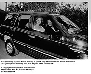 Ann Cumming & James Woods arriving in Grand Jeep Cherokee to the Beverly Hills Hotel re-Opening Party. Beverley Hills. Los Angeles. 1995. Film 95268/2<br /><br />© Copyright Photograph by Dafydd Jones<br />66 Stockwell Park Rd. London SW9 0DA<br />Tel 0171 733 0108