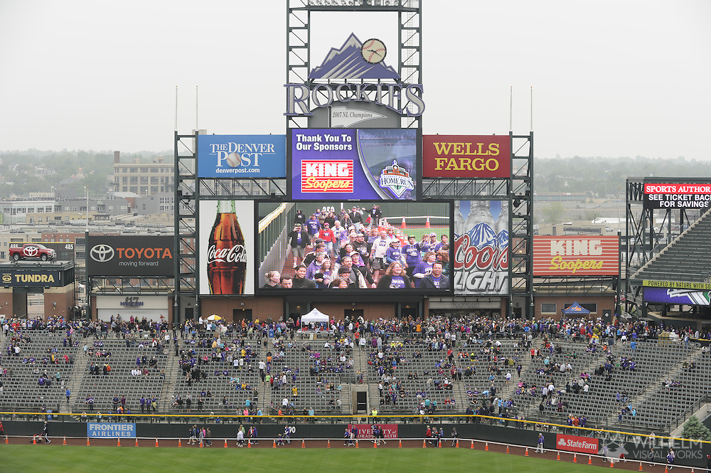 13 May 2012: Fans participate in the annual Rockies Home Run for the Homeless at Coors Field in Denver, CO.  ©2012 Brett Wilhelm