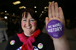 Long time campaigner Annette Forde, from Drumcondra, at the count centre in Dublin's RDS as votes are counted in the referendum on the 8th Amendment of the Irish Constitution which prohibits abortions unless a mother's life is in danger. Picture date: Saturday May 26, 2018. See PA story IRISH Abortion. Photo credit should read: Brian Lawless/PA Wire