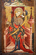 Gothic Altarpiece of St Sebastia (Sebastian) , by Joan Mates of Villafranca de Penedes, circa 1417-1425, from the refrectory of Pia Almoina, Barcelona, Tempera and gold leaf on wood.  National Museum of Catalan Art, Barcelona, Spain, inv no: MNAC  32340. Joan Mates was a Spanish painter of the International Gothic style. .<br /> <br /> If you prefer you can also buy from our ALAMY PHOTO LIBRARY  Collection visit : https://www.alamy.com/portfolio/paul-williams-funkystock/gothic-art-antiquities.html  Type -     MANAC    - into the LOWER SEARCH WITHIN GALLERY box. Refine search by adding background colour, place, museum etc<br /> <br /> Visit our MEDIEVAL GOTHIC ART PHOTO COLLECTIONS for more   photos  to download or buy as prints https://funkystock.photoshelter.com/gallery-collection/Medieval-Gothic-Art-Antiquities-Historic-Sites-Pictures-Images-of/C0000gZ8POl_DCqE