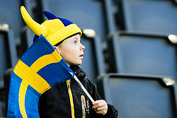 March 23, 2019 - Stockholm, SWEDEN - 190323 A young fan of Sweden ahead of the UEFA Euro Qualifier football match between Sweden and Romania on March 23, 2019 in Stockholm. (Credit Image: © Andreas L Eriksson/Bildbyran via ZUMA Press)