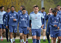 Football - England Training<br /> England captain John Terry leads the rest of the squad out onto the training pitch at London Colney, UK