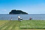 grass mowing at Umikaze park, Yokosuka with Tokyo Bay and Sarushima Island