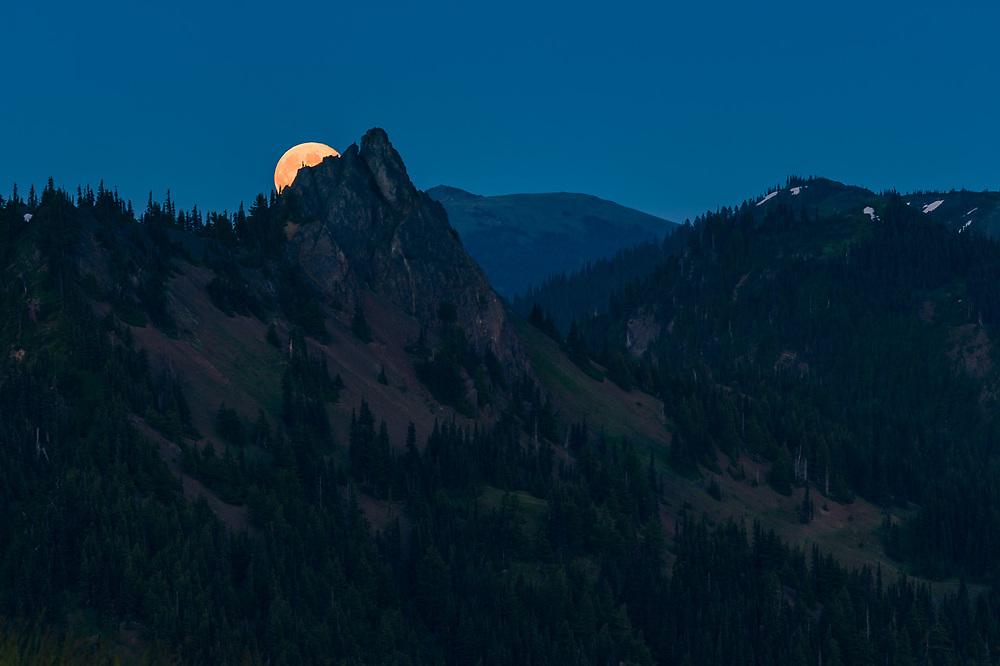 Full moon rises behind Steeple Rock, twilight, August, telephoto view from Hurricane Ridge, Olympic National Park, Clallam County, Washington, USA