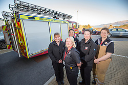 Sarah Jones, Watch Manager Lesley Jones, Bobby Zealand, Heather Brown, Annabel Lawrence. News feature on the nearly all-female firefighting crew based at the Fire Shed, Lochaline, on the Morvern Peninsula.