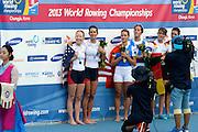Chungju, South Korea.  Lightweight women's double sculls medals, Middle Gold medalist.  ITA LW2X. Bow. Laura MILANI and Elisabetta SANCASSANI, left Silver medalist, USALW2X. Kristin HEDSTROM and  Kathleen BERTKO. right Bronze medalist. GER LW2X.  Lena MUELLER and Anja NOSKE. 2013 FISA World Rowing Championships, Tangeum Lake International Regatta Course.16:17:24  Saturday  31/08/2013 [Mandatory Credit. Peter Spurrier/Intersport Images]