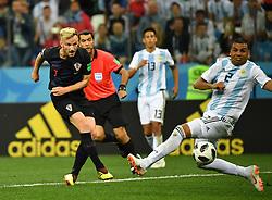 NIZHNY NOVGOROD, June 21, 2018  Ivan Rakitic (L) of Croatia scores a goal during the 2018 FIFA World Cup Group D match between Argentina and Croatia in Nizhny Novgorod, Russia, June 21, 2018. Croatia won 3-0. (Credit Image: © Li Ga/Xinhua via ZUMA Wire)