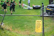 WELLINGTON, NEW ZEALAND -May 25: Covid - 19 sign at Hurricanes training run, May 25, 2020 in Wellington, New Zealand. Copyright Photo: Elias Rodriguez / www.photosport.nz