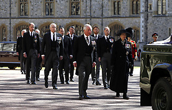 Princess Anne, Princess Royal, Prince Charles, Prince of Wales, Prince Andrew, Duke of York, Prince Edward, Earl of Wessex, Prince William, Duke of Cambridge, Peter Phillips, Prince Harry, Duke of Sussex, Earl of Snowdon David Armstrong-Jones and Vice-Admiral Sir Timothy Laurence follow the Duke of Edinburgh's coffin during the funeral of the Duke of Edinburgh at Windsor Castle, Berkshire. Picture date: Saturday April 17, 2021.