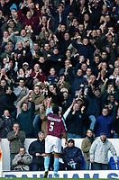 Photo: Daniel Hambury.<br />Tottenham Hotspur v West Ham Utd. The Barclays Premiership. 20/11/2005.<br />West Ham goal scorer Anton Ferdinand celebrates with fans at the end of the game.