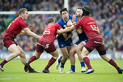 October 7, 2017 - Dublin, Ireland - Joey Carbery of Leinster tackled by Munster players during the warm-up during the Guinness PRO14 match between Leinster Rugby and Munster Rugby at Aviva Stadium in Dublin, Ieland on October 7, 2017  (Credit Image: © Andrew Surma/NurPhoto via ZUMA Press)