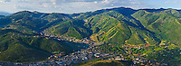 An Aerial panoramic photo of the Park City and Deer Valley Ski Areas