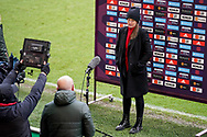 Casey Stoney of Manchester United Women (Manager) gestures and reacts whilst being interviewed after the FA Women's Super League match between Manchester United Women and BIrmingham City Women at Leigh Sports Village, Leigh, United Kingdom on 24 January 2021.