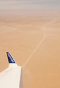 An offroad track through the Namib Desert seen from an airplane, Namibia