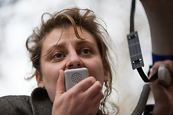 London, UK. 4 November, 2015. A speaker addresses thousands of students attending a National Demonstration for a Free Education. The demonstration was organised by the National Campaign Against Fees and Cuts (NCAFC) in protest against tuition fees and the Government's plans to axe maintenance grants with effect from 2016.