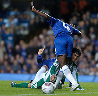 Photo: Leigh Quinnell.<br /> Chelsea v Real Betis. UEFA Champions League.<br /> 19/10/2005. Edu tangles with Chelseas Claude Makelele.