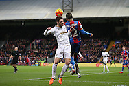 Jason Puncheon of Crystal Palace challenges Matt Grimes of Swansea City. Barclays Premier League match, Crystal Palace v Swansea city at Selhurst Park in London on Monday 28th December 2015.<br /> pic by John Patrick Fletcher, Andrew Orchard sports photography.