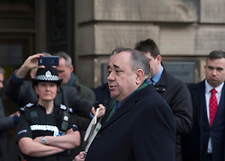 Former First Minister Alex Salmond leaves the High Court in Edinburgh after pleading not guilty at a preliminary hearing where he faced multiple charges of sexual assault and attempted rape.<br /> <br /> © Dave Johnston / EEm