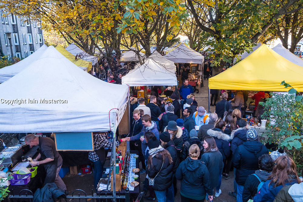 View of Stockbridge Market on a Sunday morning in Edinburgh, Scotland, United Kingdom