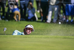 Bubba Watson hits his shot to the 14th hole on the final round of the PGA Tour Genesis Open golf tournament at Riviera Country Club in the Pacific Palisades area of Los Angeles, the United States Sunday, February 18, 2018. Watson won the Genesis Open. (Credit Image: © Zhao Hanrong/Xinhua via ZUMA Wire)