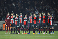 FOOTBALL - FRENCH CHAMPIONSHIP 2011/2012 - L1 - PARIS SAINT GERMAIN v EVIAN TG - 4/02/2012 - PHOTO JEAN MARIE HERVIO / REGAMEDIA / DPPI - PSG TEAM BEFORE THE KICK OFF IN TRIBUTE TO THE EGYPTIANS VICTIMS