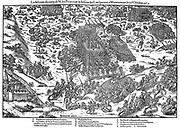 French Religious Wars 1562-1598. Battle of Montcontour 3 October  1569. Huguenots under Gaspard Coligny (1519-1572) took heavy losses during defeat by Catholics under Henry, duc d'Anjou (1551-1580), Henry III of France from 1574. In right foreground, Huguenots are retreating. Engraving by Jacques Tortorel (fl1568-1590) and Jean-Jacques Perrissin (1536-1617) from their series on the Huguenot Wars, c1570.