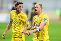 Matej Podlogar of Domzale and Senijad Ibricic of Domzale during football match between NK Domzale and NK Olimpija in 32nd Round of Prva liga Telekom Slovenije 2020/21, on May 5, 2021 in Sports park Domzale, Slovenia. Photo by Vid Ponikvar / Sportida
