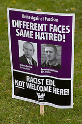 Luton, UK. 5th May, 2012. A placard used by activists from Unite Against Fascism attending the We Are Luton/Stop The EDL rally, held in protest against a march by the far-right English Defence League.