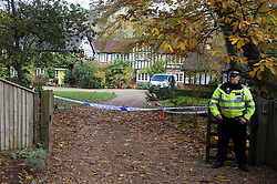 © under license to London News pictures.  03/10/2010.The search continues for the body of murder suspect Joanna Brown who disappeared from her multi-million pound home in Ascot, Berkshire. Pictured is a police officer guarding the home.