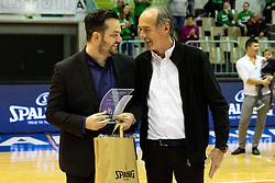 Coach of Cinkarna Celje recieving an award after the basketball match between Akson Ilirija and Cinkarna Celje in Final Round of Pokal Članic 2018/19, on March 10, 2019 in Dvorana Tabor, Maribor, Slovenia. Photo by Blaž Weindorfer / Sportida
