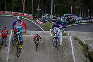 #230 (AGUIRRE AMPUEDA Diego Pablo) CHI and #208 (VIEILLARD Baptiste) FRA during round 4 of the 2017 UCI BMX  Supercross World Cup in Zolder, Belgium.