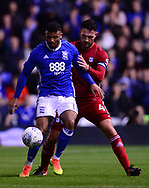 Isaac Cassell of Birmingham city in action with Sean Morrison of Cardiff City (r)  .EFL Skybet championship match, Birmingham city v Cardiff city at St.Andrew's stadium in Birmingham, the Midlands on Friday 13th October 2017.<br /> pic by Bradley Collyer, Andrew Orchard sports photography.