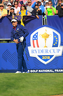 Ian Poulter (Team Europe) on the 1st tee during the Friday Foursomes at the Ryder Cup, Le Golf National, Ile-de-France, France. 28/09/2018.<br /> Picture Thos Caffrey / Golffile.ie<br /> <br /> All photo usage must carry mandatory copyright credit (© Golffile | Thos Caffrey)