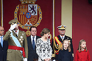 King Felipe VI of Spain, Queen Letizia of Spain, Crown Princess Leonor, Princess Sofia attended the National Day military parade on October 12, 2016 in Madrid, Spain.