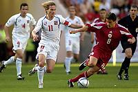 Fotball, Alveira Portugal, EM, Euro 2004, 150604, Tsjekkia - Latvia ,<br /> Pavelm Nedved, Tsjekkia, i duell med Imants Bleidelis, Latvia<br /> Photo: Digitalsport