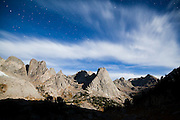 Moonlight illuminates Pingora Peak and the Cirque of the Towers in Popo Agie Wilderness, Wind River Range, Wyoming.