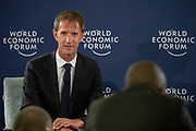 Oliver Cann, Head of Media Content World Economic Forum at the press conference held in Johannesurg by The World Economic Forum on the 28th of June 2018. Image by Greg Beadle