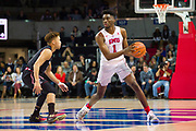 DALLAS, TX - JANUARY 04:  Shake Milton #1 of the SMU Mustangs brings the ball up court against Alani Moore II #2 of the Temple Owls during a basketball game on January 4, 2017 at Moody Coliseum in Dallas, Texas.  (Photo by Cooper Neill/Getty Images) *** Local Caption *** Shake Milton; Alani Moore II
