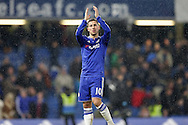 Eden Hazard of Chelsea applauding the Chelsea supporters after the final whistle. Barclays Premier league match, Chelsea v Newcastle Utd at Stamford Bridge in London on Saturday 13th February 2016.<br /> pic by John Patrick Fletcher, Andrew Orchard sports photography.