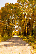 Dusty Autumn Road Approaching the Tetons