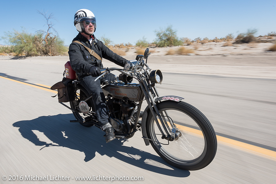 Paul Jung of Germany riding the 1915 Harley-Davidson entry from W and W Cycles of Wurzburg during the Motorcycle Cannonball Race of the Century. Stage-14 ride from Lake Havasu CIty, AZ to Palm Desert, CA. USA. Saturday September 24, 2016. Photography ©2016 Michael Lichter.