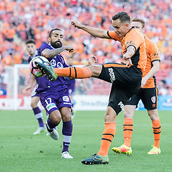 BRISBANE, AUSTRALIA - OCTOBER 30: Jade North of the roar kicks the ball during the round 4 Hyundai A-League match between the Brisbane Roar and Perth Glory at Suncorp Stadium on October 30, 2016 in Brisbane, Australia. (Photo by Patrick Kearney/Brisbane Roar)