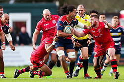 Chris Vui of Bristol Rugby is challenged by Apakuki Ma'afu of Jersey Reds - Rogan/JMP - 28/10/2017 - RUGBY UNION - Stade Santander International - St Peter, Jersey - Jersey Reds v Bristol Rugby - Greene King IPA Championship.