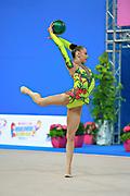 Serdyukova Anastasiya during qualifying at ball in the Pesaro World Cup April 10, 2015. Anastasiya is an Azerbaijani individual rhythmic gymnast, she was born on May 29, 1997 in Tashkent, Uzbekistan. Her goal is to compete at the 2020 Olympic Games in Tokyo.