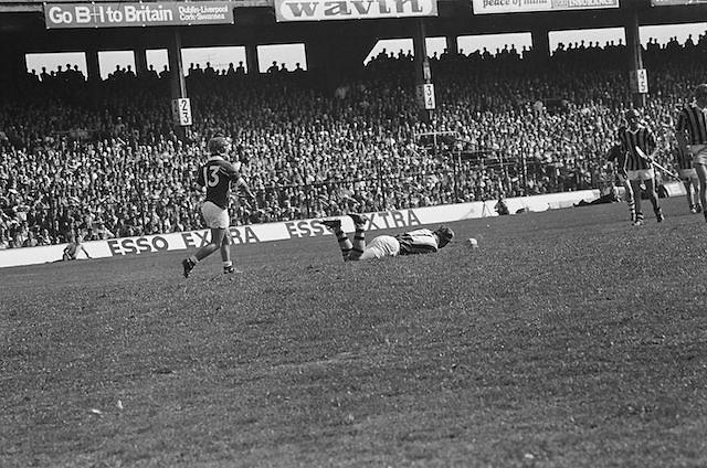 Player falls to the ground during at the All Ireland Senior Hurling Final, Cork v Kilkenny in Croke Park on the 3rd September 1972. Kilkenny 3-24, Cork 5-11.