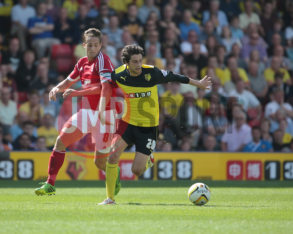 Watford's Diego Fabbrini and Nottingham Forest's Chris Cohen challenge for the ball  - Photo mandatory by-line: Nigel Pitts-Drake/JMP - Tel: Mobile: 07966 386802 25/08/2013 - SPORT - FOOTBALL -Vicarage Road Stadium - Watford -  Watford v Nottingham Forest - Sky Bet Championship