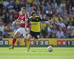 Watford's Diego Fabbrini and Nottingham Forest's Chris Cohen challenge for the ball  - Photo mandatory by-line: Nigel Pitts-Drake/JMP - Tel: Mobile: 07966 386802 25/08/2013 - SPORT - FOOTBALL -Vicarage Road Stadium - Watford -  Watford v Nottingham Forest - Sky Bet Championship