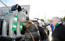Fans admire the Yeovil Town FC gromit outside Huish Park on Sunday 10th October - Photo mandatory by-line: Dougie Allward/JMP - Tel: Mobile: 07966 386802 10/11/2013 - SPORT - FOOTBALL - Huish Park - Yeovil - Yeovil Town v Wigan Athletic - Sky Bet Championship