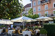 Restaurant am Hafen von Lindau, Bodensee, Bayern, Deutschland